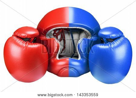 Boxing red and blue helmet and gloves isolated on white background