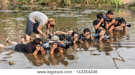 Nongkhai Thailand-March 6 2016 This is behind the scene of photographer group is making picture in Mekong river in the morning