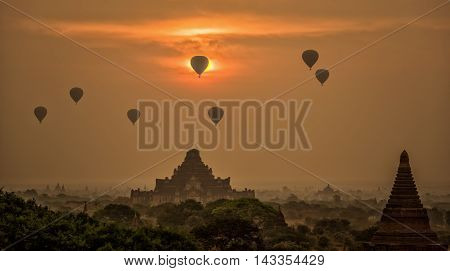 Sunrise at Ancient Temples in old Bagan Myanmar