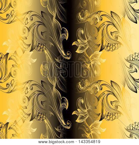 Yellow baroque floral vector seamless pattern background with vintage beautiful decorative baroque vintage ornaments. Luxury illustration and royal 3d decor elements with shadow and highlights. Endless elegant  texture.