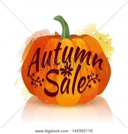 Logo, symbol, icon Autumn sale. banner design Autumn sale with the decor of orange pumpkins. The fall share with pumpkin watercolor texture. Vector illustration