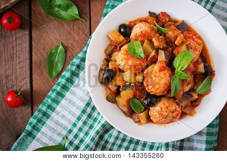Juicy Meatballs Of Turkey Meat With Vegetables (zucchini, Eggplant, Olive, Tomato). Top View
