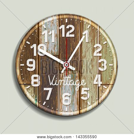 Clock On Old Wood Background. Vector Illustration.