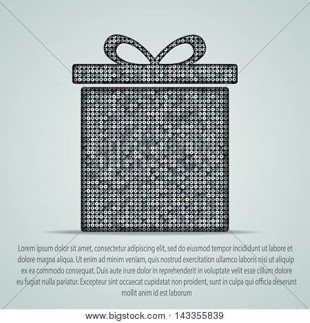 Silhouette of a box with a gift of silver sequins.