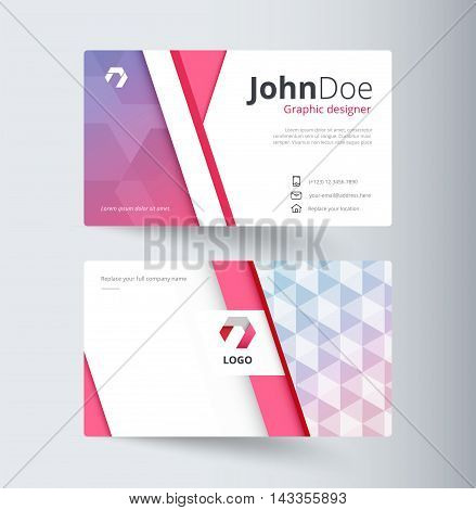 Sweet Business Contact Card Template Design. Vector Stock