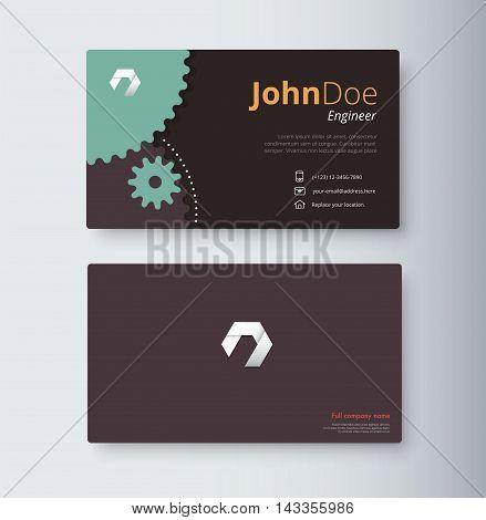 Engineer Business Card Template. Gear Business Card. Vector Stock.