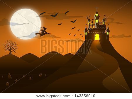 Spooky Ghost Castle On The Hill With Full Moon