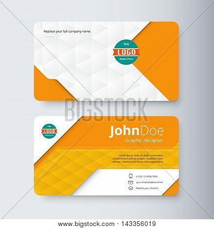 Orange Business Contact Card Template. Template Design. Vector Illustration.