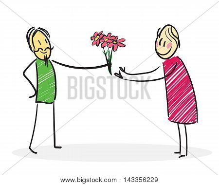 Man gives flowers to a woman: Falling in love