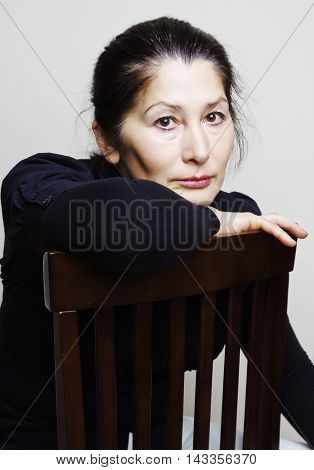 Beautiful asian woman, middle-aged business woman portrait in an office.