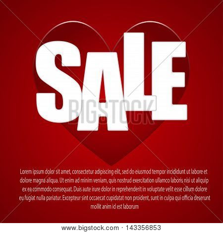 Red heart with an inscription - sale, on a red background. vector