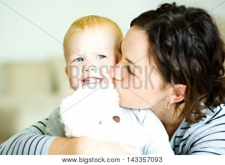 Cute mother and cute daughter, indoor shoot