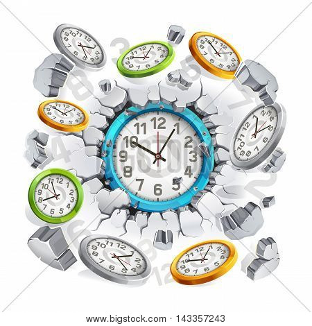 Clock breaking through the concrete wall background. Vector illustration.