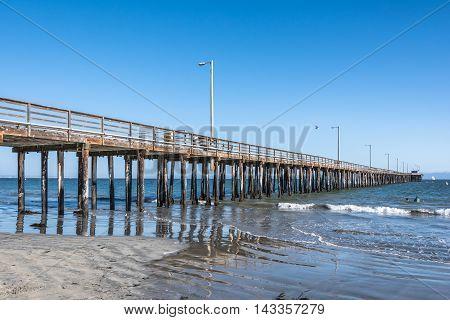 Avila Beach,California,USA - July 14, 2015 : View of the long pier in Avila Beach