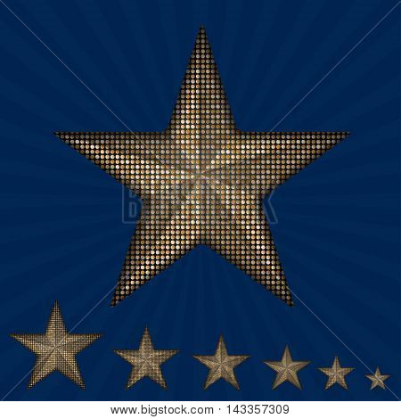 Vector gold star with elements of sequins, pallets and sparkles on a blue background.