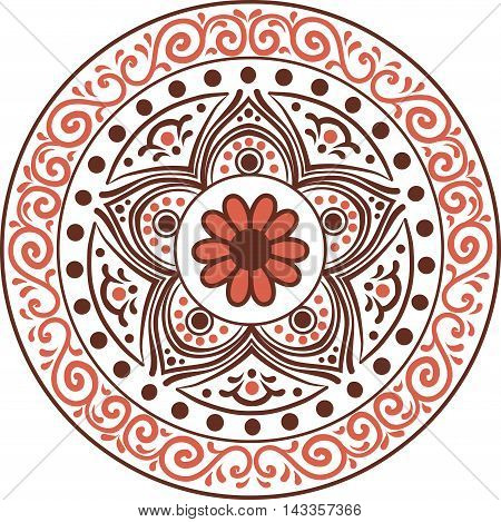 Drawing of a floral mandala in brown and orange colors on a white background