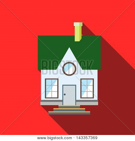 Small house with a green roof icon in flat style with long shadow
