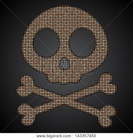Silhouette of a skull and crossbones gold sequins on a dark background.