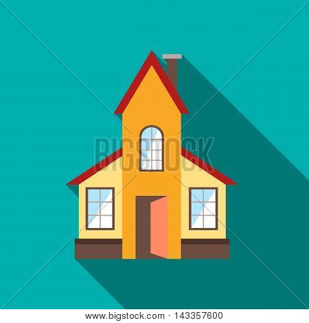 Abstract modern house icon in flat style with long shadow