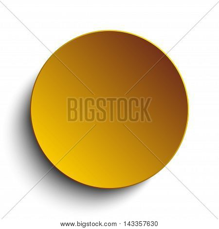 Vector abstract background. Gold circle button on white background.
