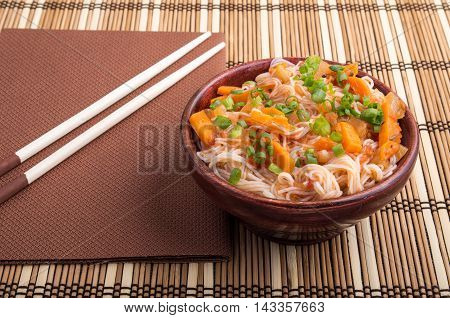 One Serving Of Rice Vermicelli Hu-teu With Vegetables