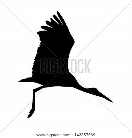 Stork bird. Vector silhouette black on white