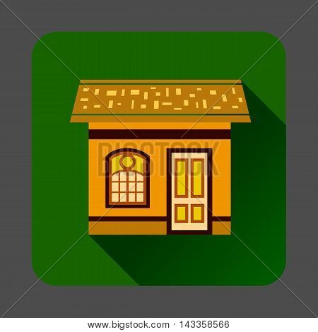 Gingerbread house icon in flat style with long shadow