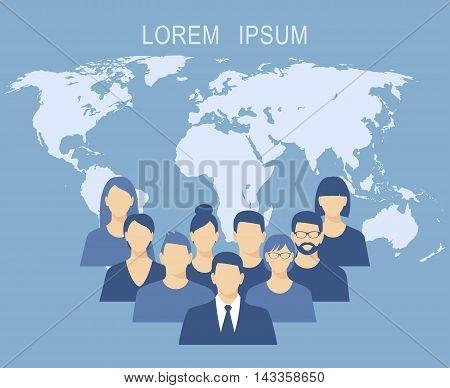 Business people team flat design vector illustration over background world map