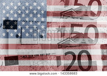 Euro banknotes, switch and USA flag - Finance concept