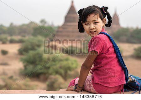 Portrait Burmese girl at Old Bagan Myanmar