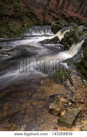 Waterfall in the river Hoegne near the small village Hockai in the Belgian region Ardennes