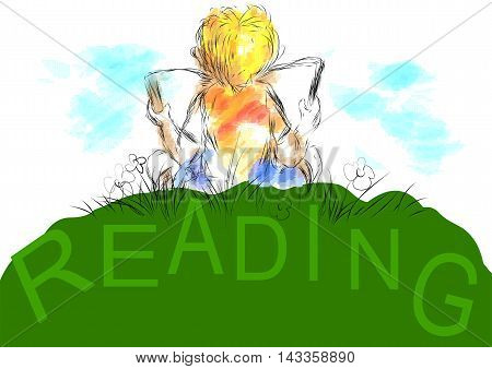 reading. boy sits 0on grass and read your favorite book