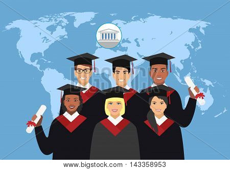 a group of students in graduation gowns on the background of the world map. International Education concept