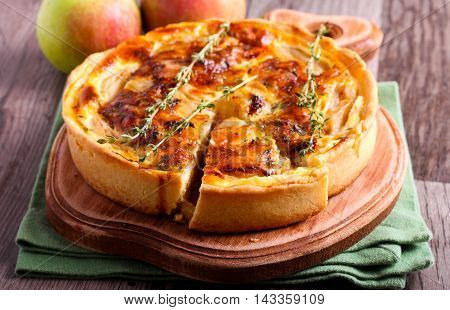 Brie and apple custard tart with thyme
