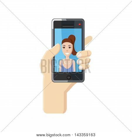 Girl taking selfie photo on smartphone icon in cartoon style on a white background