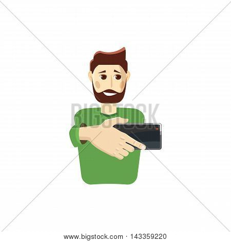 Man taking selfie photo icon in cartoon style on a white background