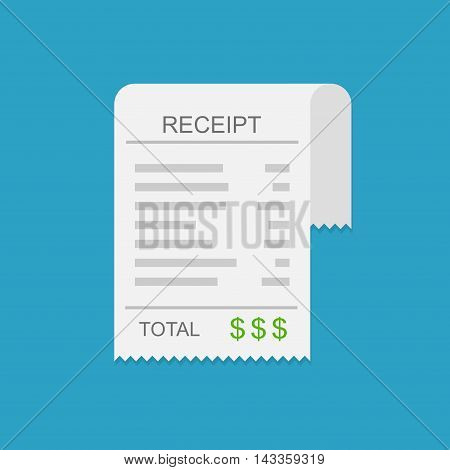 Receipt vector icon in a flat style. Invoice icon, total bill icon with dollar symbol on blue background
