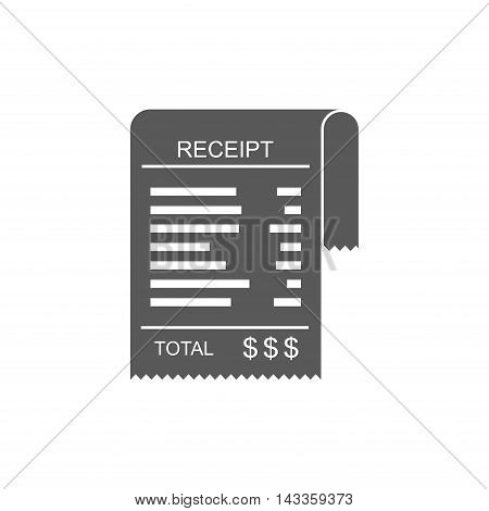 Receipt vector icon in a flat style. Invoice icon, total bill icon with dollar symbol isolated on white background.