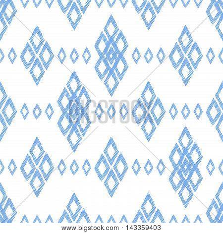 Ikat damask seamless pattern. Blue diamonds on a white background. Vintage vector illustration.