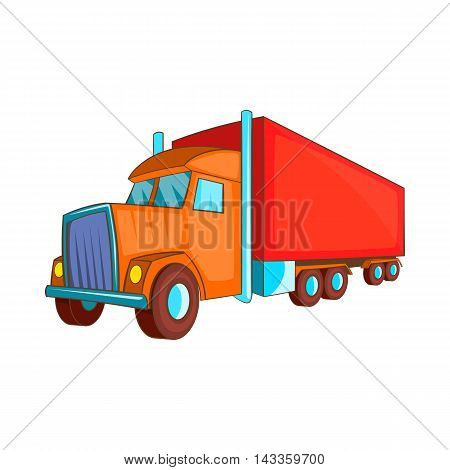 Semi trailer truck icon in cartoon style on a white background