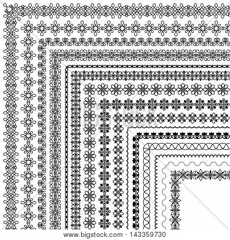 Vector brush set with modern and classic patterns floral motifs to create borders dividing and decoration of text. Line art frames for invitations birthday and greeting cards certificate. The brush included in the file