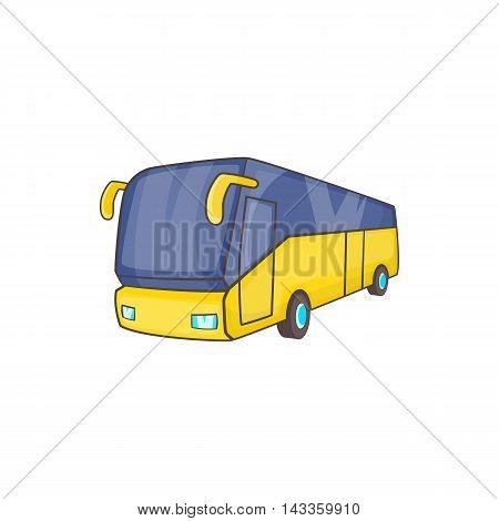 Yellow tourist bus icon in cartoon style on a white background