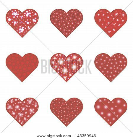 Set of nine red hearts. Vector illustration isolated objects on a white background