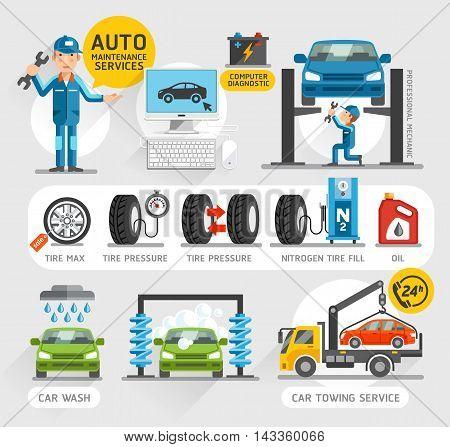 Auto Maintenance Services icons set. Vector illustration.