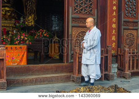 Xian China - October 17 2013: Monk at Giant Wild Goose Pagoda Xi'an Shaanxi Province China.