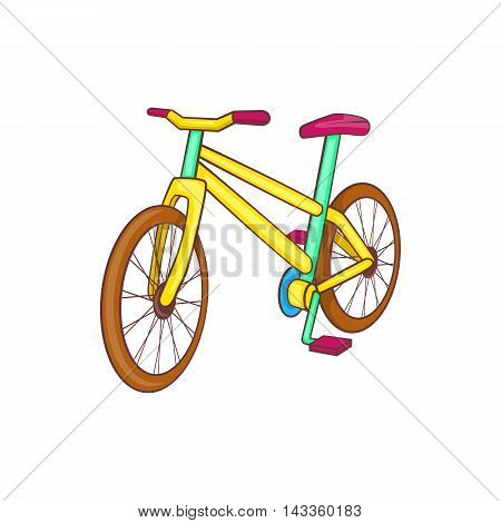 Yellow bike icon in cartoon style on a white background
