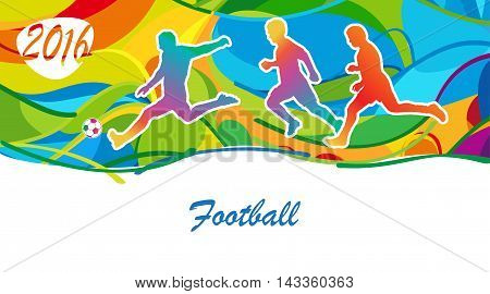 Football. Rio 2016. Brazilian football. Olympics background. Sport Summer Brazil. Soccer league. Abstract summer colorful illustration. Vector, kids sport Holiday.