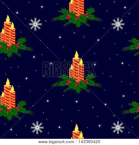 Seamless christmas pattern. Winter theme texture with holly, candles, stars, snowflakes on dark blue background.