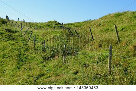 Agricultural fences on a farmland in Dorset England