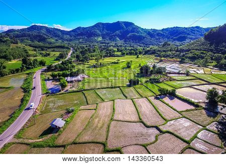 Rice terraces and agriculture filed of the countryside of Thailand.